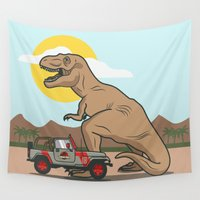 t rex Wall Tapestries featuring Jurassic Park - T-Rex by Michael Walchalk