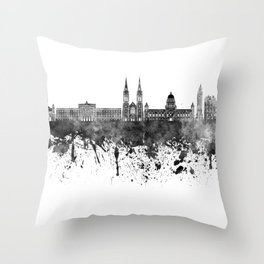 Belfast skyline in black watercolor on white background Throw Pillow
