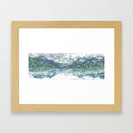 Kintla Lake Watercolor Painting of Glacier National Park Framed Art Print