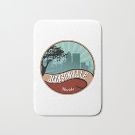 Jacksonville City Skyline Design Florida Retro Vintage 80s Bath Mat