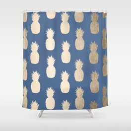 Gold Pineapples on Aegean Blue Shower Curtain