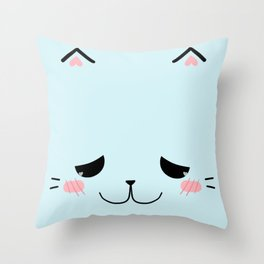 Sleepy Blue Kitty Throw Pillow