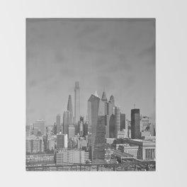 Black and White Philadelphia Skyline Throw Blanket