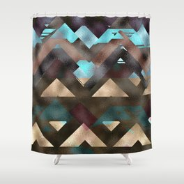 Bronze Brown Blue Burgundy Metal Abstract Mountains Shower Curtain