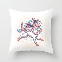 sylveon Throw Pillows featuring Sylveon  by Lara Frizzell