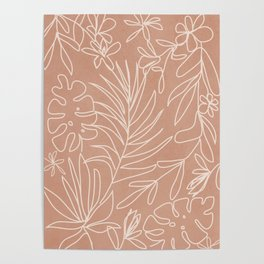 Engraved Tropical Line Poster