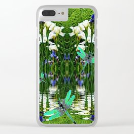 TURQUOISE DRAGONFLIES IRIS WATER REFLECTIONS Clear iPhone Case