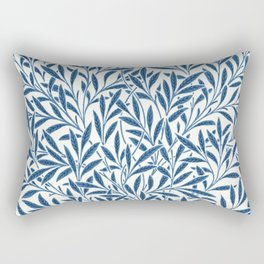 William Morris Navy Blue Botanical Pattern 9 Rectangular Pillow