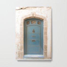 Light Blue Moroccan Door Metal Print
