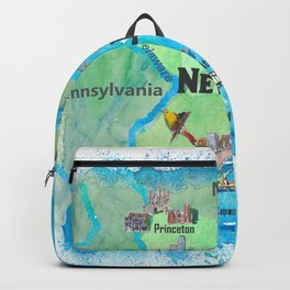 USA New Jersey State Travel Poster Map with Touristic Highlights Backpack