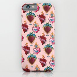 Sacred Hearts on pink  iPhone Case