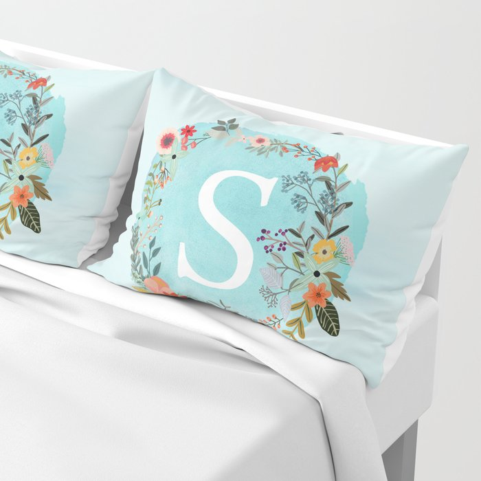 Personalized Monogram Initial Letter S Blue Watercolor Flower Wreath Artwork Pillow Sham