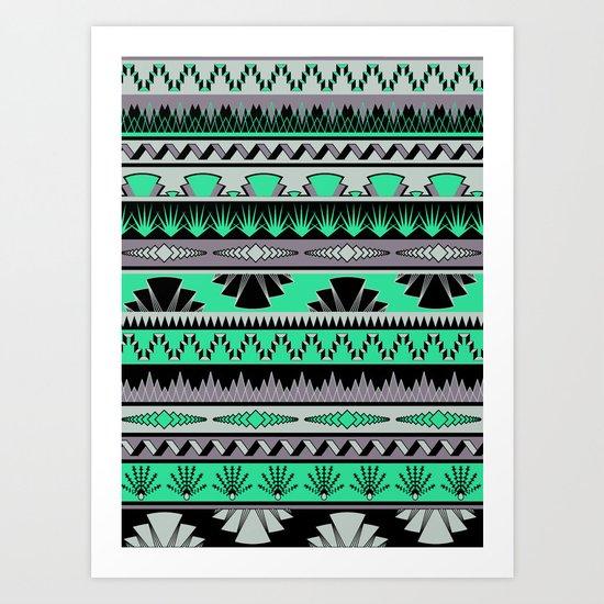 art deco stripes - green & pale purple Art Print