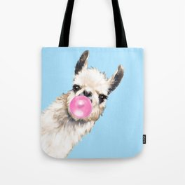 Bubble Gum Sneaky Llama in Blue Tote Bag