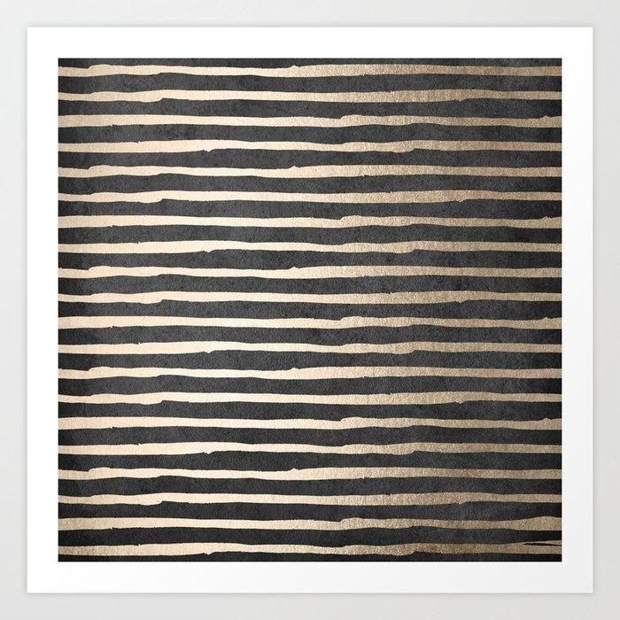 White Gold Sands Thin Stripes on Black Art Print