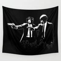 pulp fiction Wall Tapestries featuring Divine Monkey Intervention by Nicklas Gustafsson