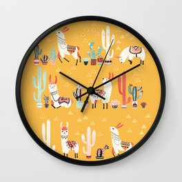 Happy llama with cactus in a pot Wall Clock