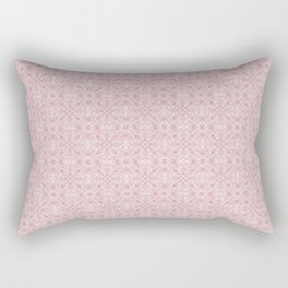 Light Pink Gothic Diamond and Rosette Stained Glass Tile Pattern Rectangular Pillow
