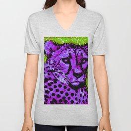 Black light purple Cheetah Unisex V-Neck