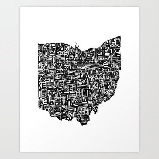 Typographic Ohio Art Print