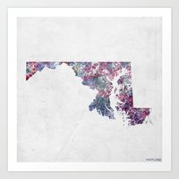 maryland Art Prints featuring Maryland map by MapMapMaps.Watercolors