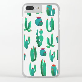 New Cactus Pattern Clear iPhone Case