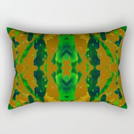 Green Rain on Green, Black and Shades of Gold Rectangular Pillow
