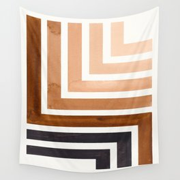 Raw Umber Minimalist Inca Geometric Mid Century Modern Watercolor Pattern Maze Wall Tapestry