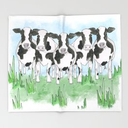 A Field of Cows Throw Blanket