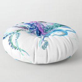 Octopus, Turquoise Green Purple Pink Octopus Design Floor Pillow
