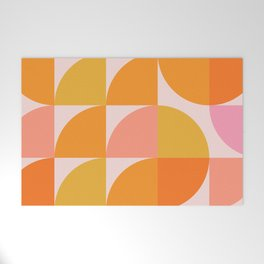 Mid Century Mod Geometry in Pink and Orange Welcome Mat