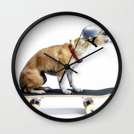 Skate Punk - Skateboarding Chihuahua Dog inTiny Helmet Wall Clock