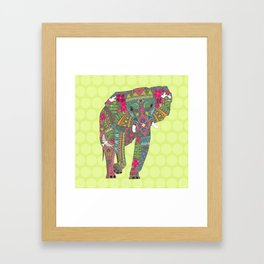 painted elephant chartreuse spot Framed Art Print