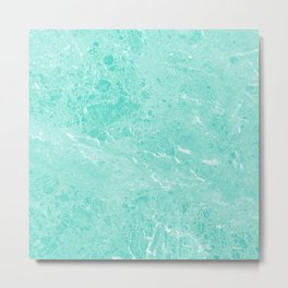 Modern turquoise white abstract marble pattern Metal Print