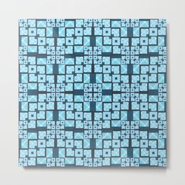 Structured Elegance Blue Grey Squares Geometric Print Metal Print