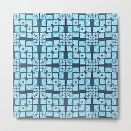 Structured Elegance Blue Grey Squares Geometric Print Metal Print