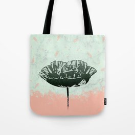 Beautiful Poppy Flower on Marble Design Tote Bag