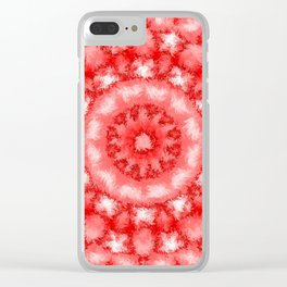 Kaleidoscope Fuzzy Red and White Circular Pattern Clear iPhone Case