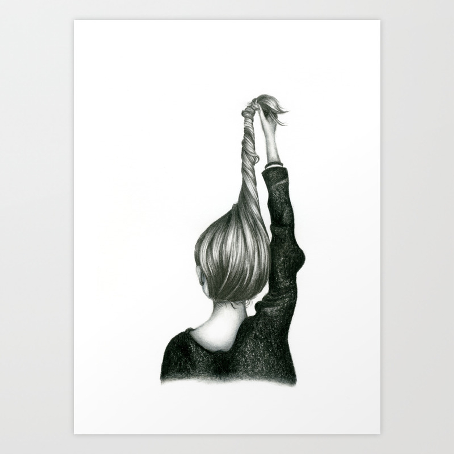 Black white pencil sketch twisted hairstyle art print
