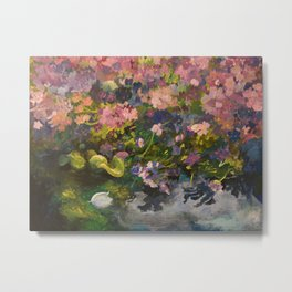 Pond with flowers Metal Print