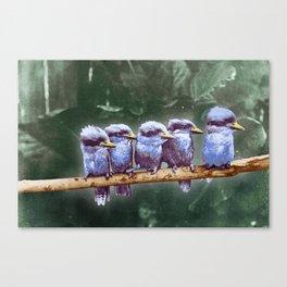 Cute Little Birds On A Branch Canvas Print