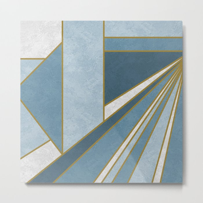Travel to nowhere in blue (abstract geometric marble) Metal Print