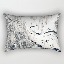Snow on Textures of Pine Trees and Cliffs Rectangular Pillow