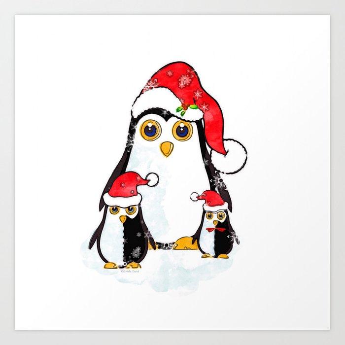 Christmas Penguins Waiting for Santa Art Print