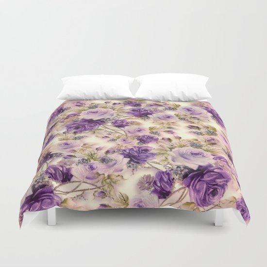 lovely purples roses Duvet Cover