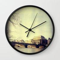 prague Wall Clocks featuring Prague by Milan Kubík