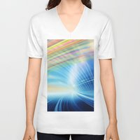 halo V-neck T-shirts featuring Colorful Halo by Tom Lee
