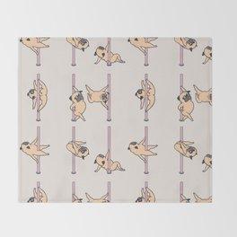 Pugs Pole Dancing Club Throw Blanket