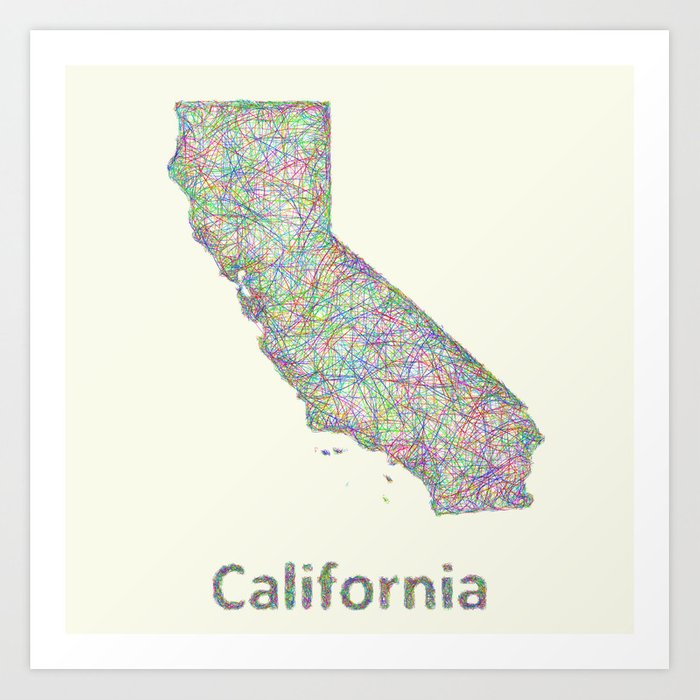 California Map Art Print By Davidzydd Society6