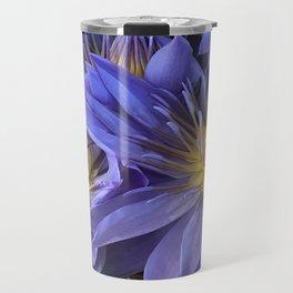 Luxurious, Elegant Tropical Lilac-Blue Hawaiian Lilies Travel Mug